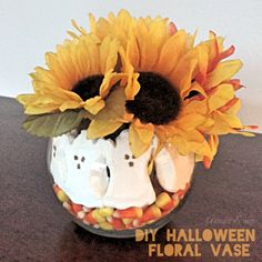 Here is a little project I did for some cute Halloween decor. What you need: Vase Candy Corn Marshmallow peeps Fake flowers As you can see, line the bottom with an inch of candy corn. Next, line th…