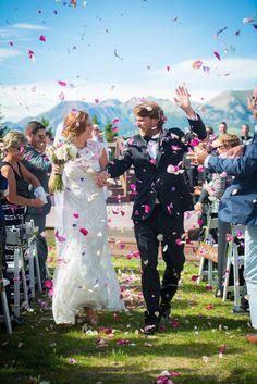 Uley's Cabin Wedding // Mackenzie & Dave via Rocky Mountain Bride // Crested Butte Wedding // Flower petals // @sweetteastudios @flowerscb @lwdbridal