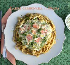 Laksa Carbonara a la Diana. Inspiration til sund, nem og hurtig aftensmad. Enjoy!