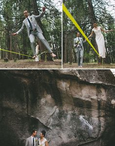 Yosemite elopement, rock climbing in the morning, married in the afternoon, slack lining in the evening.