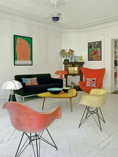 Taan says: Love the white floor with the colored vintage furniture