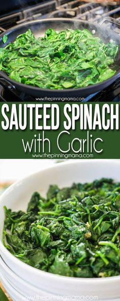 Sautéed Spinach with Garlic is low carb and gluten free and only takes 5 minutes to make! Perfect healthy side dish for dinner! Sautéed Spinach with Garlic is low carb and gluten free and only takes 5 minutes to make! Perfect healthy side dish for dinner! Gluten Free Sides Dishes, Low Carb Side Dishes, Healthy Side Dishes, Side Dishes Easy, Side Dish Recipes, Side Dishes For Chicken, Veggie Side Dishes, Vegetable Dishes, Cooked Spinach Recipes
