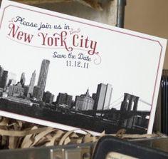 The Big Apple + Brooklyn Bridge = Unmistakably New York Wedding -- Vintage Skyline Postcard (Brooklyn Bridge, New York)