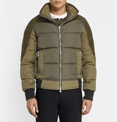 Balmain - Suede-Panelled Padded Down Jacket | MR PORTER