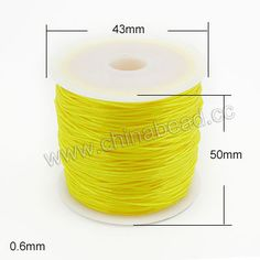 Cord Thread & Wire, Flat Crystal Elastic Cord, Yellow, Approx 0.6mm, 60 meters per spool, 25 spools per bag, Sold by bags