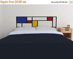 LIMITED SALE - Mondrian Headboard Decal in Primary Colors - Vinyl wall sticker decal - De Stijl Style headboard