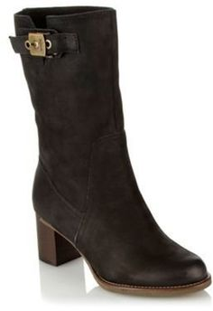 ShopStyle: Black mid heel leather calf boots £112.50