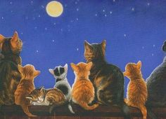 """Photo from album """"Художник-иллюстратор Chrissie Snelling"""" on Yandex. Cats Wallpaper, Wallpaper Desktop, Good Night Cat, C Is For Cat, Art Fantaisiste, Lots Of Cats, Cat Crafts, Whimsical Art, Belle Photo"""