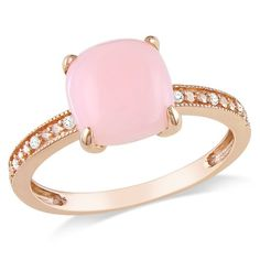 Amazon.com: 10k Rose Gold Pink Opal and Diamond Ring, (.03 cttw, G-H Color, I1-I2 Clarity), Size 7: Jewelry