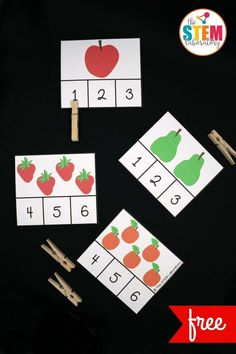 These Very Hungry Caterpillar clip cards are adorable! Such a fun way to practice the numbers Great for counting, number recognition and subitizing in preschool or kindergarten. kindergarten Very Hungry Caterpillar Clip Cards - The Stem Laboratory Preschool Learning, Kindergarten Math, Preschool Activities, Kindergarten Graduation, Numbers Preschool, Preschool Classroom, Classroom Ideas, Seasonal Classrooms, Dinosaur Activities
