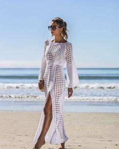 2019 Sexy Knitted Bikini Cover-up Long Beach Dress White Crochet Bikini Covers-Up Beach Coat Swimsuit Cover-Ups Lace Beachwear Swimwear Cover Ups, Swimsuit Cover Ups, Dress Clothes For Women, Trendy Clothes For Women, White Maxi Dresses, Beach Dresses, Dress Beach, Lace Maxi, Beach Tunic