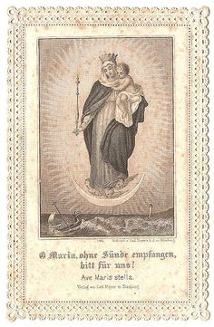 Vintage Ephemera Graphic - Lace Holy Card - Mary with Baby Jesus - The Graphics Fairy