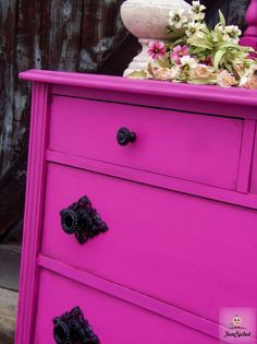 WOW black handles - Fuschia Dresser by FunCycled Funky Furniture, Furniture Makeover, Painted Furniture, Fuschia Bedroom, Orchid Color, Daughters Room, Room Colors, Paint Colors, Dream Decor