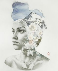 To achieve his paintings, Spanish artist Oriol Angrill Jordà seems inspired by double exposure technique, often used in photography. Moreover, he used a complex technique by using pencils and watercolors with a lot of expertise. Among his works, we can discover women portraits interlaced with wild landscapes.