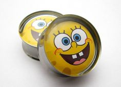 Spongebob Plugs 2g 0g 00g 7/16 1/2 9/16 5/8 3/4 7/8 by SuperPlugs, $18.95