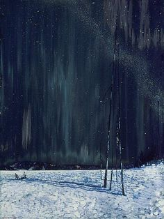 "the-paintrist: "" fleurdulys: "" Frank Johnston - A Northern Night - 1917 "" Frank Johnston (June 1888 – July was a Canadian artist associated with the Group of Seven. Tom Thomson, Emily Carr, Canadian Painters, Canadian Artists, Nocturne, Group Of Seven Paintings, Northern Nights, Pierre Auguste Renoir, Henri Matisse"