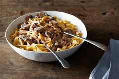 A simple pasta dish that gives you everything you deserve after a long day -- pasta and a creamy mushroom sauce.