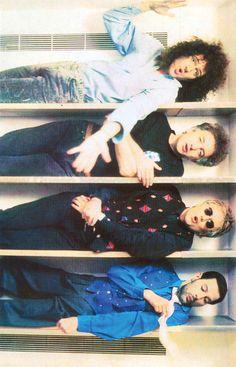 Brian May, John Deacon, Roger Taylor and Freddie Mercury. Headlong video shoot.