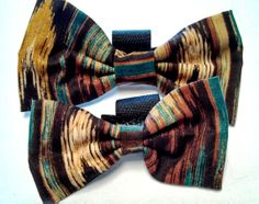 Brown and Blue Bow Tie  Collar accessory by HalasPaws on Etsy, $7.99