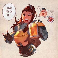 I'm so excited for Brigitte! I actually main support and tank, so a hybrid sounds like so much fun What do you guys think of the new hero? Overwatch - Drinks with Brigitte Overwatch Comic, Overwatch Tattoo, Overwatch Memes, Overwatch Fan Art, Brigitte Overwatch, Brigitte Lindholm, Geeks, Character Art, Character Design