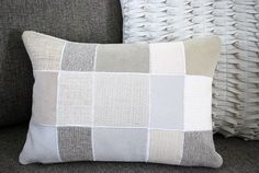 DIY Pillow from a Pile of Leftover Sofa Fabric Swatches | Free clever craft ideas, sewing patterns, templates and printables || Merriment Design