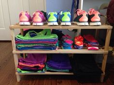Love this idea! Workout shelf - everything ready to go.