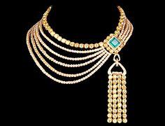 Farah Khan gold, diamond and emeralds, collar necklace~