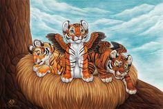 Winged Tiger Cubs by DolphyDolphiana.deviantart.com on @DeviantArt