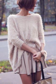 Fuzzy silk sweater tucked into float skirt