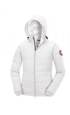 cheap canada goose women's camp down hooded jacket white