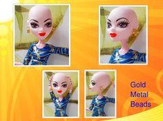 Handmade Golden Metal Bead Earrings For Monster by CuteWeirdFluffy
