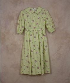 Girl's Ready Made dress Size 6 Extra Long - Lime Green plaid with Pink Bouquets