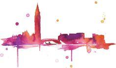 Watercolor Travel Illustration - Venice at Sunset print Watercolor City, Watercolor Landscape, Watercolor Paintings, Watercolours, Watercolour Tattoos, Watercolor Techniques, Art Techniques, Rome Florence, Travel Illustration