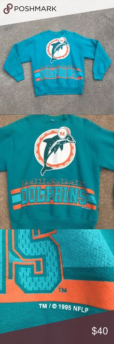 Vintage 1995 Miami Dolphins sweater Size L Good condition. Please ask any questions, thanks! Sweaters Crewneck