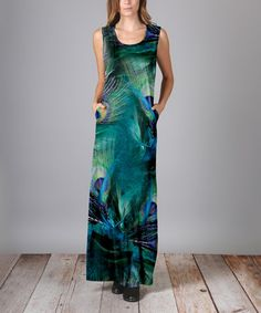 Look what I found on #zulily! Teal Peacock Feather Maxi Dress - Plus Too #zulilyfinds