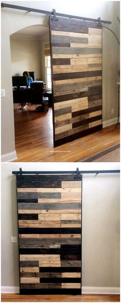 Try something artistic to have rustic environment. This wood pallet sliding gate idea is great way to have natural and wondrous look at your place. If you have to divide your large room in to two, then use this reused wood pallet sliding gate idea this will not only help you in solving problem but also gives mesmerizing look.