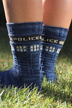 For Whovian knitters: Police Box Sox pattern by Audry Nicklin on Ravelry
