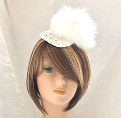 Fox Fur Fascinator - Derby Hat - Cocktail Hat - Couture Millinery - Wedding Hat - Winter Bride - White Fur Hat - Bridesmaid Hat -Pom Pom Hat