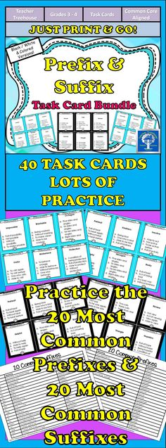 This set of task cards is designed to help your students to identify and understand the meanings of the 20 most common prefixes and the 20 most common suffixes. Perfect for 3rd and 4th grade students! Click the link for a list of which prefixes and suffixes are included in this bundle!