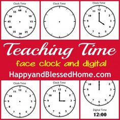 Teaching time to kids - Free printables, including blank clock faces that you can laminate and have your children practice with. Use to supplement Right Start math time lessons. Teaching Time, Help Teaching, Teaching Math, Teaching Ideas, Teaching Spanish, Preschool Learning, Fun Learning, Preschool Activities, Kindergarten Age