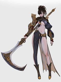 That's a mean looking sythe scythe girl by victorBANG ✤ || CHARACTER DESIGN…