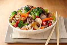 Beef & Broccoli Stir-Fry is ready in minutes when you use Birds Eye Recipe Ready Broccoli Stir Fry and Steamfresh Long Grain White Rice.