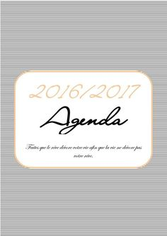 agenda 2016 / 2017 format a5 à imprimer gratuitement 7 2017 Planner, Agenda Planner, Planner Pages, Life Planner, Organization Bullet Journal, Journal Organization, Bujo, Bullet Journal Essentials, Diy Agenda