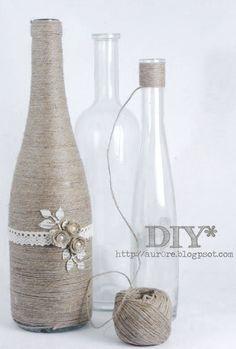 Como reciclar garrafas com barbante para decoração da casa