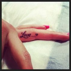 Fashionable Word Tattoo on The Finger