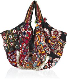 Simone Camille Carryall Embroidered Cotton Bag in Multicolor (black)   Lyst
