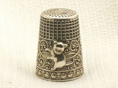 Estate RARE Vintage Sterling Silver Cat Kitty Scroll Sewing Thimble 3 5g | eBay