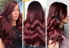 63 Hot Red Hair Color Shades to Dye for: Red Hair Dye Tips & Ideas - rote Frisuren Hair Color Highlights, Hair Color Dark, Brown Hair Colors, Hair Colours, Dyed Tips, Hair Dye Tips, Shades Of Red Hair, Bright Red Hair, Cherry Brown Hair