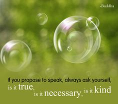 If you propose to sepak, always ask yourself. Is it true? Is it necessary? Is it kind? - Buddha