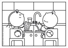 Frokkie en Lola eten een boterham met hagelslag en chocoladepasta. Begin jij de dag ook altijd met een goed ontbijt? Coloring Pages For Girls, Healthy Recipes, Healthy Food, Teaching, Restaurants, Drawings, Healthy Foods, Healthy Eating Recipes, Healthy Eating